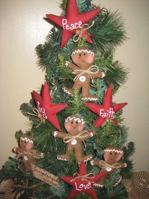 PRIM CHRISTMAS FABRIC 4 GINGERBREAD & 4 RED MESSAGE STAR ORNAMENTS HOME DECOR #NaivePrimitive #HANDMADE