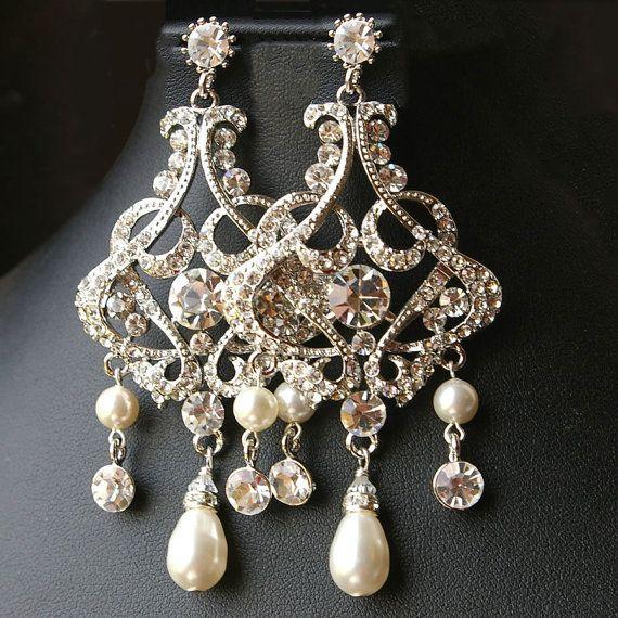 Matrimonio sposa orecchini, Vintage Style Istruzione sposa orecchini, orecchini lampadario di cristallo, Lampadario ALESSANDRA