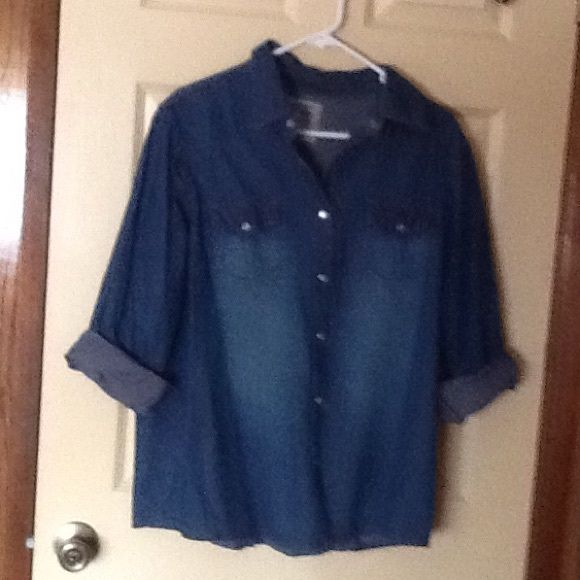 Sale Over Drive Denim Shirt, Women This Denim Shirt is 100% Cotton. Over Drive Tops Button Down Shirts