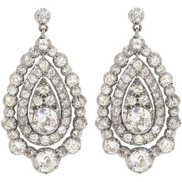 Preowned Antique Pear Shaped Diamond Gold Platinum Pendeloque Ear... (831 350 UAH) ❤ liked on Polyvore featuring jewelry, earrings, orecchini, multiple, antique gold earrings, 18k gold earrings, platinum earrings, diamond pendant and 18k gold pendant