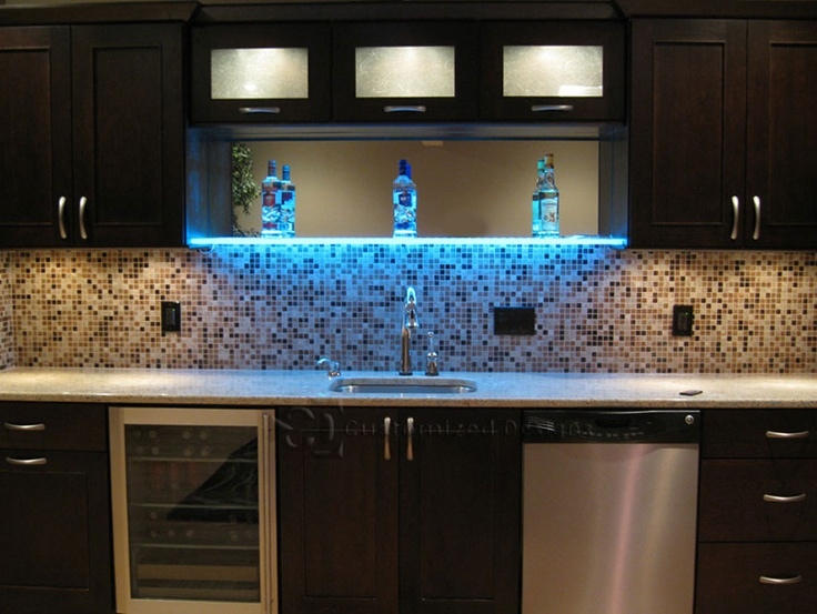 Led Lighted Shelves Kitchens Wet Bar Basement