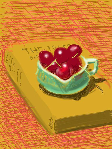 David Hockney, iPad drawing Book & Cherries on ArtStack #david-hockney #art