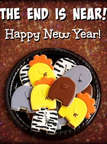 Animal Cookies can help you celebrate the New Year- The END is NEAR! Happy New Year!   The Bearfoot Baker    #bearfootbaker #edibleart #rolloutcookies #cutecookies #animalcookies #royalicing #delicioustreats #cutetreats #cookiesforalloccassions