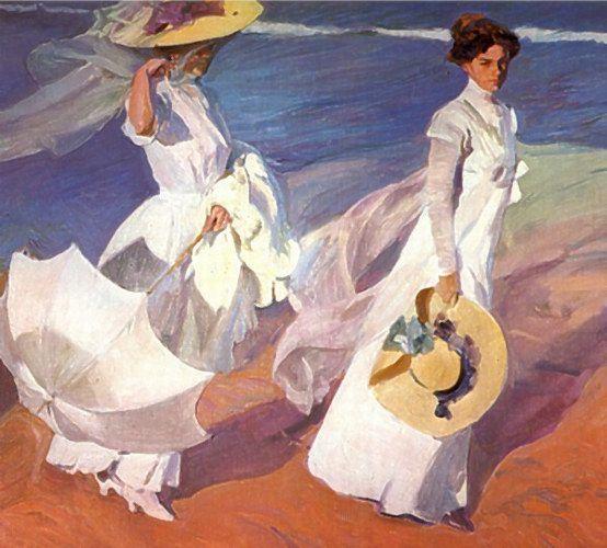 Paseo a orillas del mar, de Joaquín Sorolla. Pintado durante el verano de 1909 en la playa de Valencia. Óleo sobre lienzo. 205x200 cm. En el Museo Sorolla de Madrid