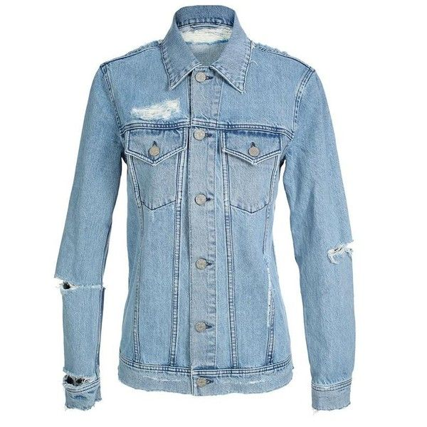 ACNE 'Fever Trash' distressed denim jacket (1,040 NZD) ❤ liked on Polyvore featuring outerwear, jackets, tops, shirts, bottoms, women, distressed jean jacket, blue denim jacket, blue jean jacket and blue jackets