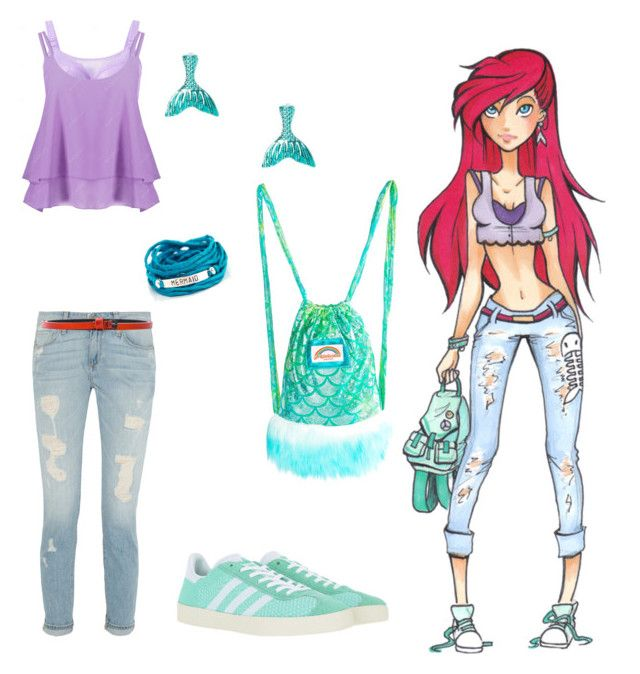 """High school Ariel"" by gryffindormermaid ❤ liked on Polyvore featuring Disney, claire's, adidas Originals, J. Valentine, Blooming Lotus Jewelry and Haider Ackermann"