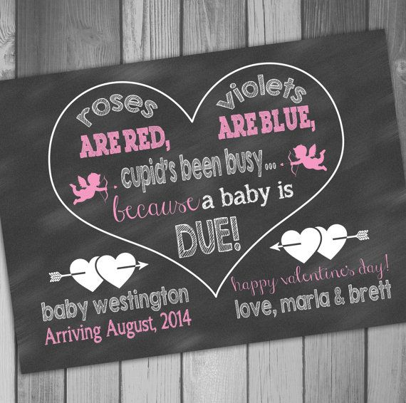 17 Best ideas about Chalkboard Baby Announcements – Valentine Birth Announcement