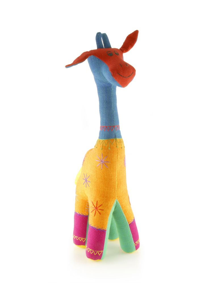 Decoratieve kleurige giraffe, met de hand geborduurd
