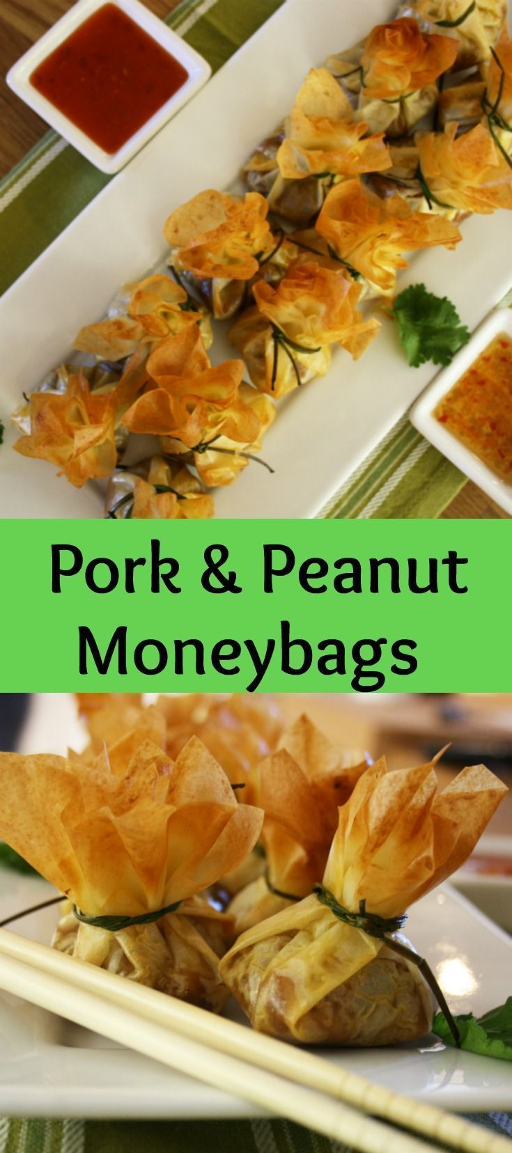 Pork and Peanut Moneybags. Pork mince, flavoured with Thai red curry paste, garlic, coriander and peanut butter and baked in filo moneybags tied with chives.
