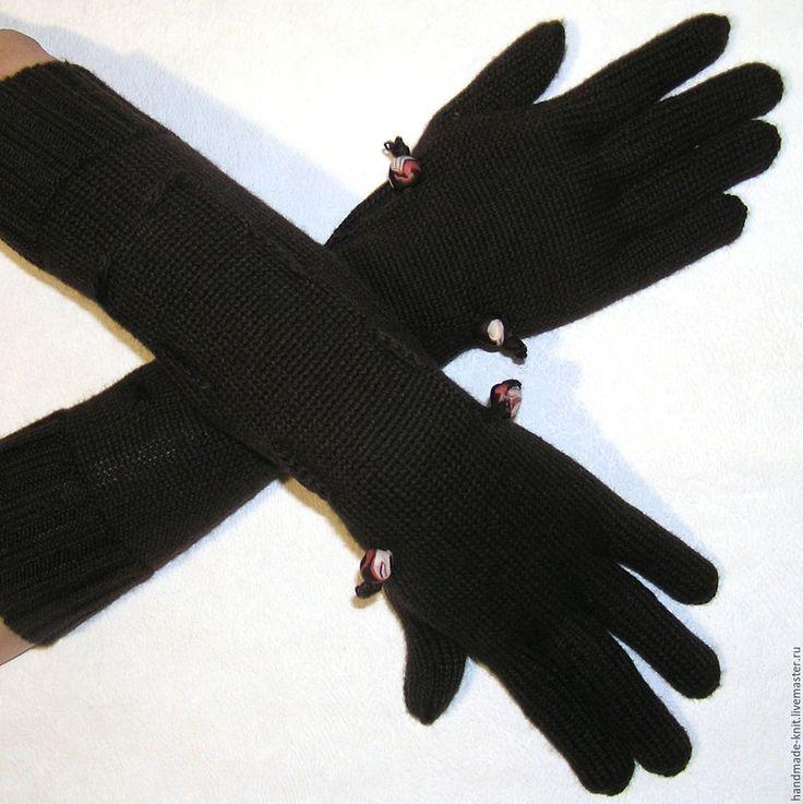 Купить Перчатки темно-коричневые - перчатки, перчатки женские, перчатки вязаные, перчатки длинные