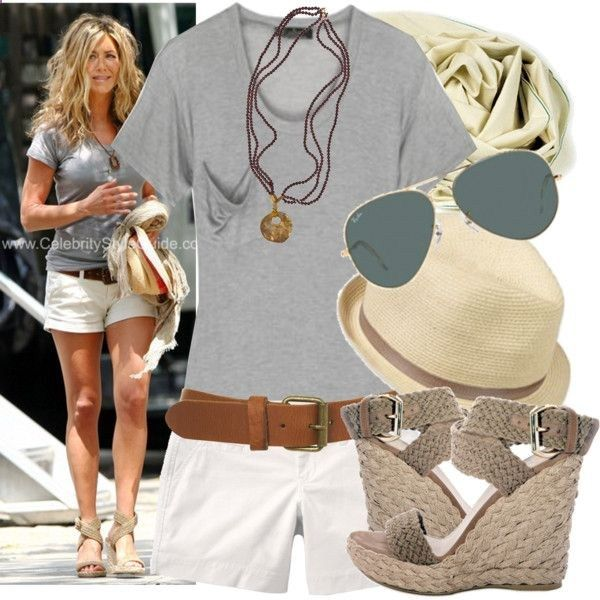 Jennifer Aniston summer outfit, casual in a gray t-shirt, white shorts, espadrilles and straw fedora.