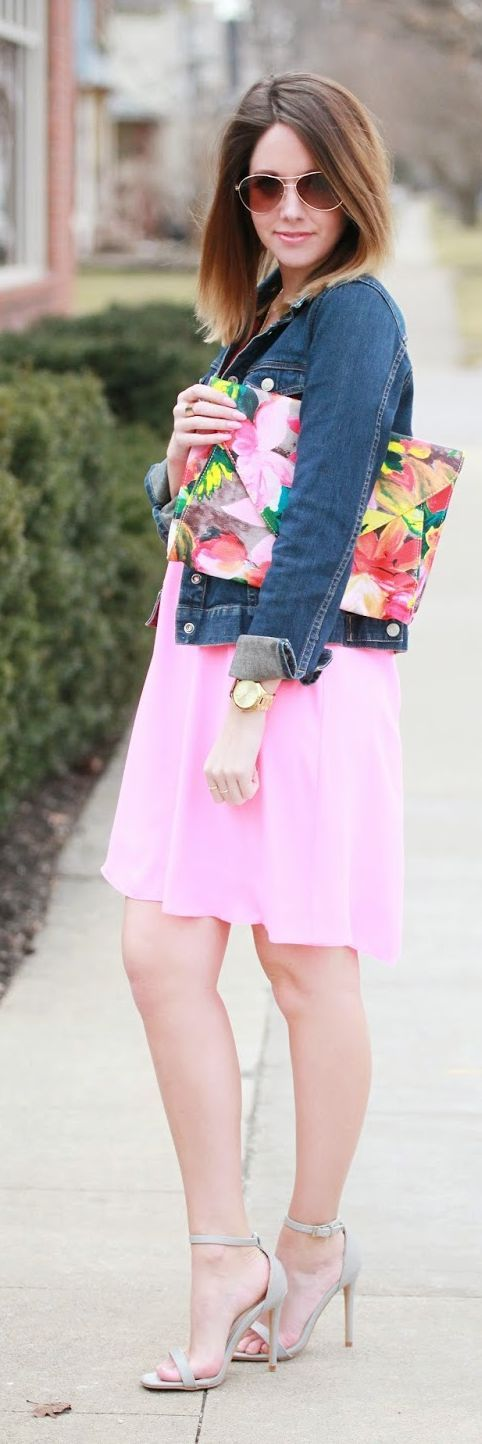 Neon Pink Dress Outfit Idea