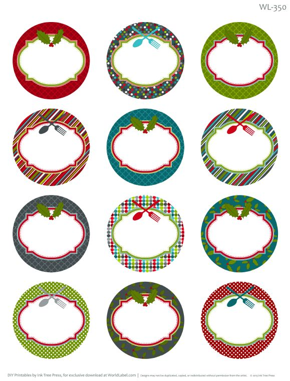 Free printable round labels - good for Christmas labeling..