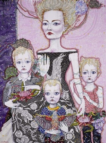 Del Kathryn Barton. Must be Marie Antoinette. Kind of reminds me of the portrait in Sofia Coppola's film!