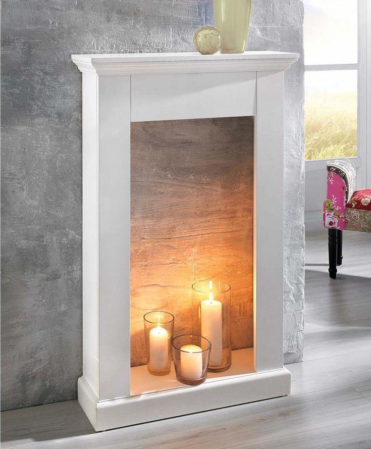 fausse cheminée decorative manteau bougies                                                                                                                                                                                 Plus