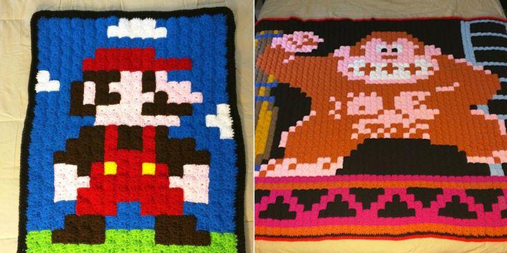 Passionnée par le crochet, cette mamie réalise des couvertures en hommage aux jeux vidéo