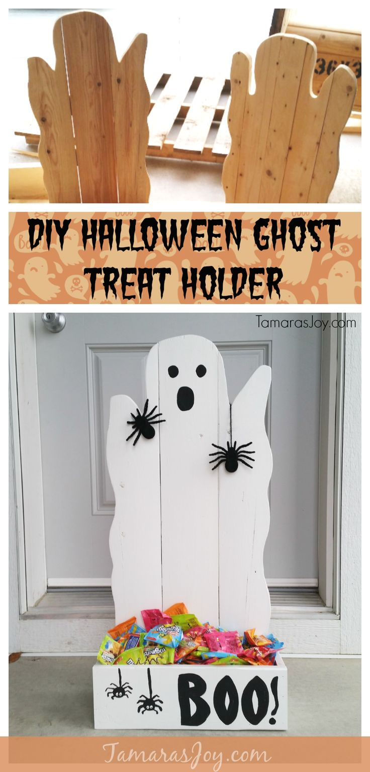 Build diy ghost halloween treat holders to decorate! DIY ghost halloween treat holders are a simple beginners woodworking project with an adorable outcome!