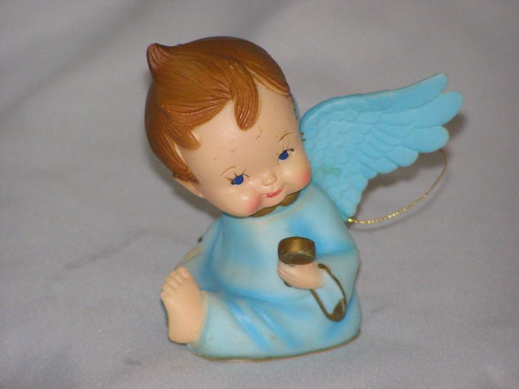 Adorable Baby Angel Holding Rattle in Blue Ornament by parkie2 on Etsy