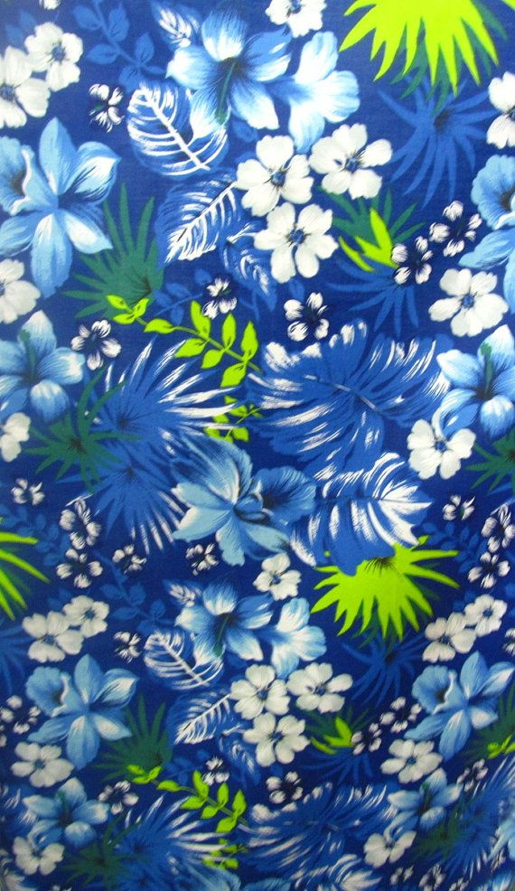 Poly Cotton Print Hawaiian on Royal Blue Background 60