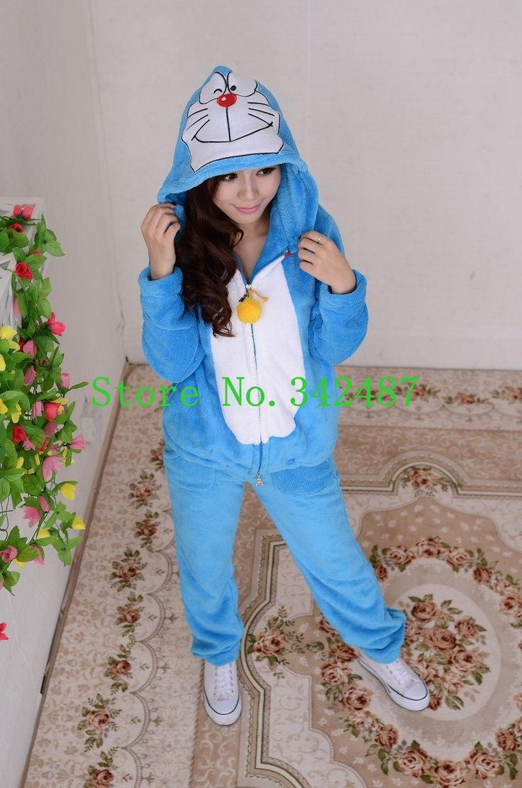 Free Shipping!!!2016 hot sale Winter cartoon thick fleece pajamas Cute Dora A Dream pajamas school uniforms Adult Pajamas