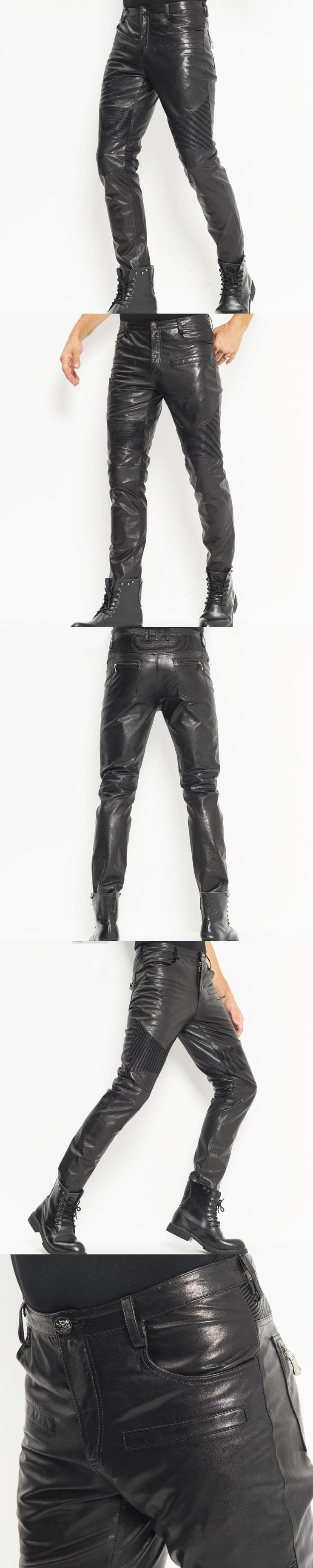 Men's Leather Pants Windproof Skinny Moto&Biker Punk Rock Pants Slick Smooth Shiny Leather Trousers Tight Sexy