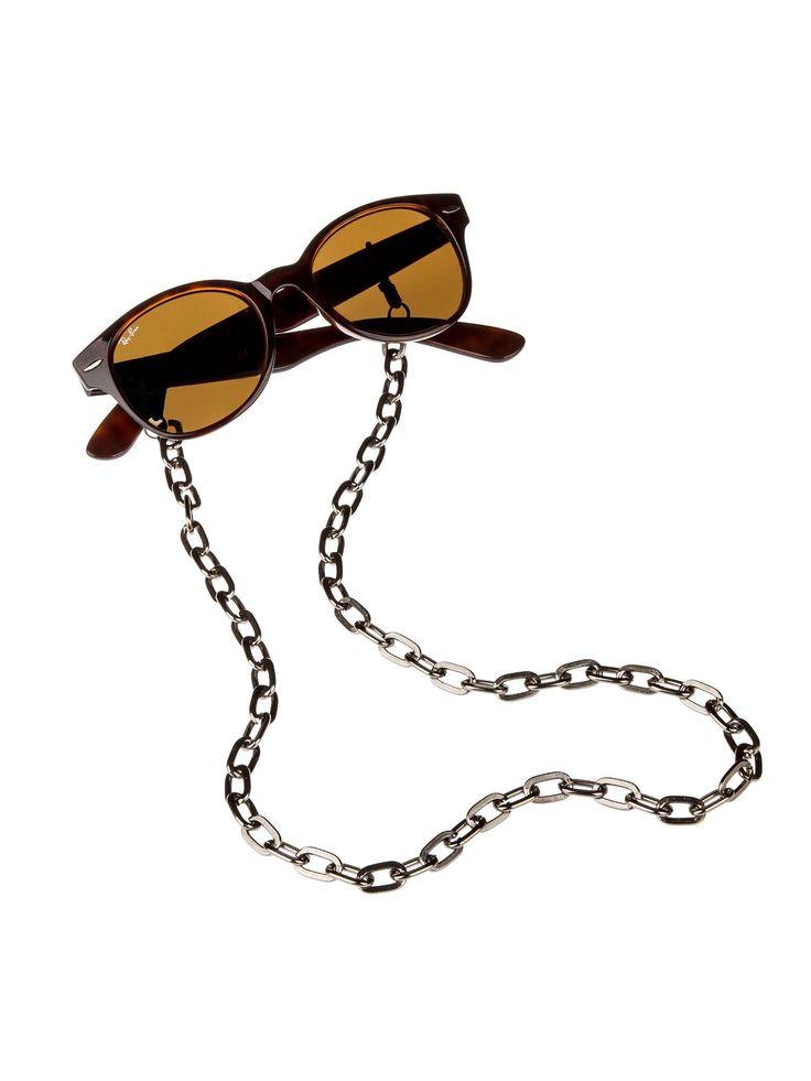 Acessório de Óculos Cadeado | Corrente de alumínio dourada com couro legítimo entrelaçado inspirado na Chanel.  Encaixe ajustável para todos os tamanhos de haste.