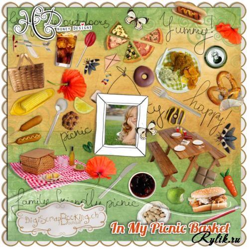 Вкусный скрап-набор с продуктами - Моя корзинка для пикника. In my picnic basket