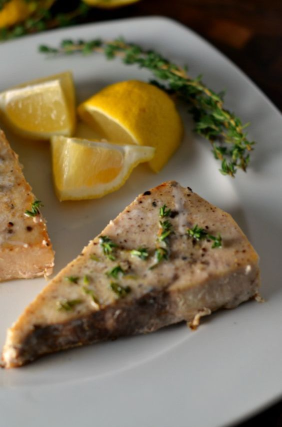 A healthy dinner recipe. Swordfish steaks with lemon thyme sauce are ready in less than 30 minutes. We fixed this for dinner.  it was my first taste of snark.  Very good.  Will make again. Very simple to make.