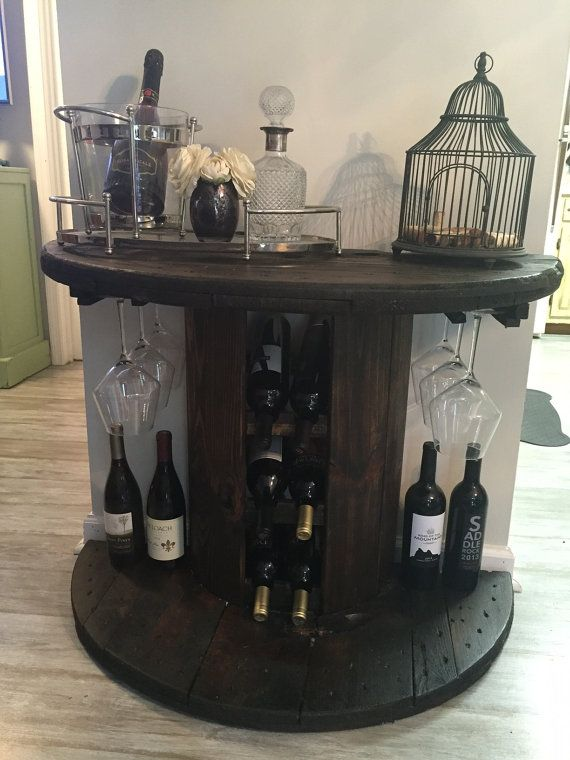 Reclaimed Wooden Cable Spool Wine Bar  Wine by OceansideReclaimed