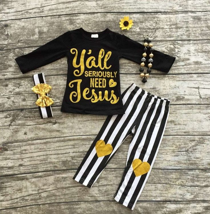 Y'all Seriously Need Jesus 2pc Striped Leggings Outfit.  Only $13.99 at www.gabskia.com. Accessories are also available for additional purchase.
