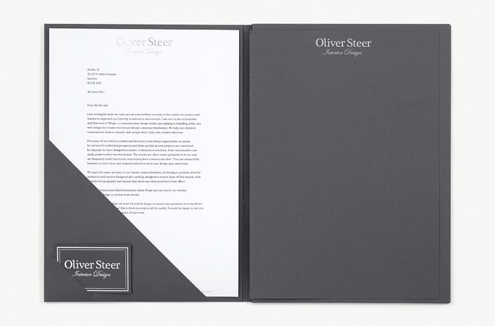 Luxury presentation folder for high-end interior design business.