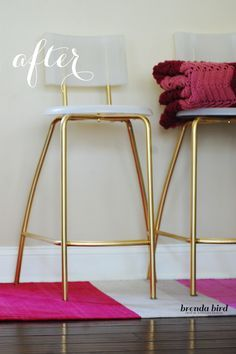 One of my favorite Ikea Hacks: makeover boring stools into stylish, modern and glam gold stools using Rustoleum spray paint.