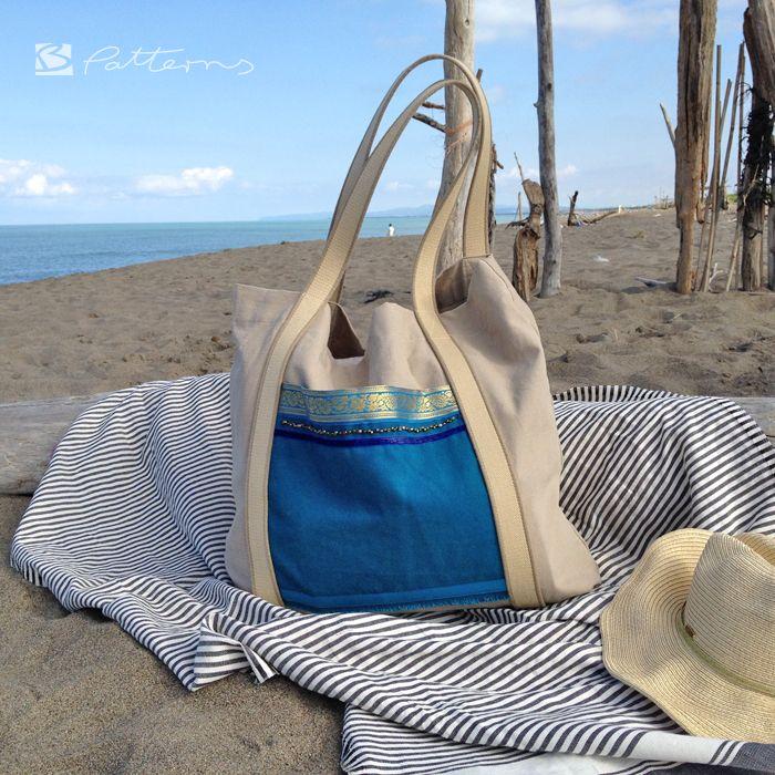 IMG_2734 Kopie Stoff, Stofftasche, Plastik vermeiden, nähen, Tasche, Shopper, 12monate12taschen, Strandtasche, Strand, Meer, blau, beige
