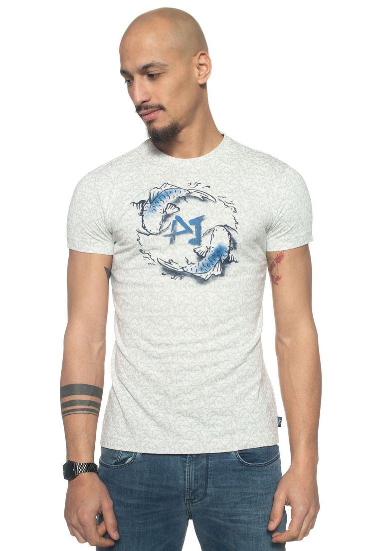Armani Jeans  , T-shirt girocollo mezza manica , tessuto logato , stampa frontale , colore: grigio chiaro , composizione: 100% cotone , linea: ARMANI JEANS , il modello indossa la taglia: M  - Euro 90