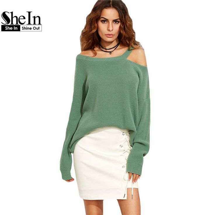 SheIn Sexy Knitted Pullover Sweater Women Autumn Winter Ladies Plain Green Long Sleeve Asymmetric Cold Shoulder Long Sweater