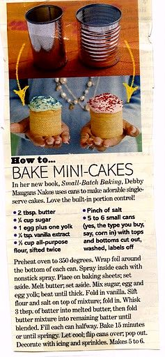 Mini Cakes, gonna have to try this! Love doing this for people's bdays:)
