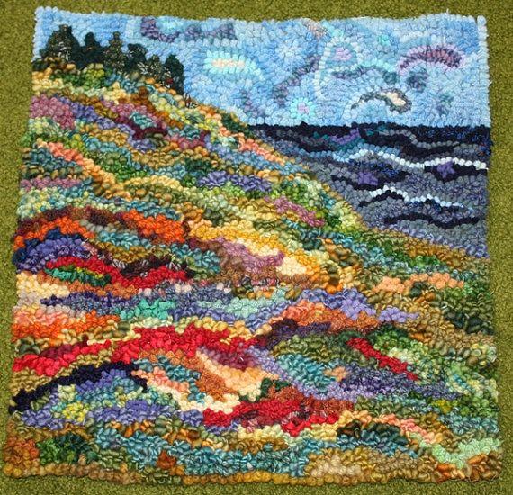 Summer field hooked rug by PleasantHillStudio on Etsy