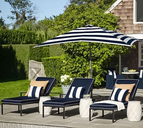 Pottery Barn Universal Tufted Single Chaise Cushion, Outdoor Canvas, Ink  Blue