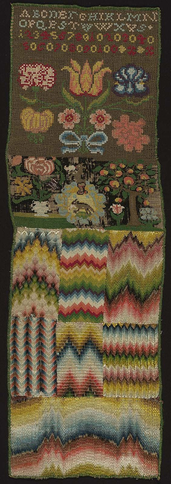 Across the top the alphabet and numbers. Below, various flowers, a rectangle bearing animals, a tree and blossoms. The lower half divided into rectangular areas bearing chevron motifs worked in various stitches. Polychrome silk yarns on linen ground. Condition good; black rotted out in spots. Stitches: Florentine, rococo, tent, two-sided Italian cross, upright gobelin, slanting gobelin.