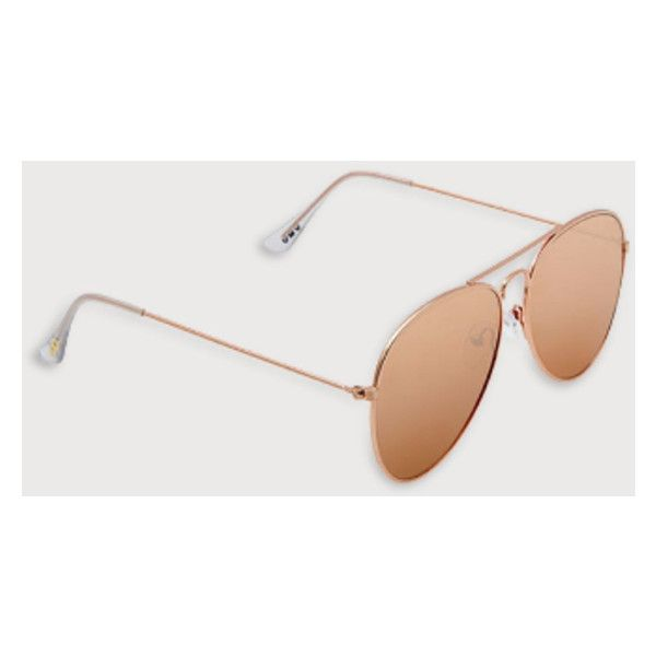 Frankie Rose Gold Aviator Sunglasses (£22) ❤ liked on Polyvore featuring accessories, eyewear, sunglasses, aviator style glasses, metal frame glasses, uv protection sunglasses, rose gold sunnies and rose gold sunglasses