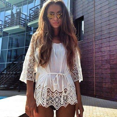 Lace beach cover up <3
