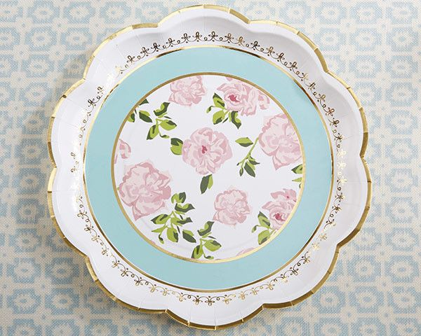 Feminine and elegant, our Tea Time Whimsy Paper Plates are sure to be just the accent you need at your afternoon tea party! Sold in packs of 8, these aqua, white, pink, and gold paper turn your cookie