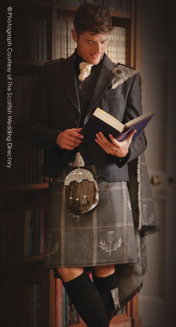 Wearing a kilt at work in his Law Office. Nicely done
