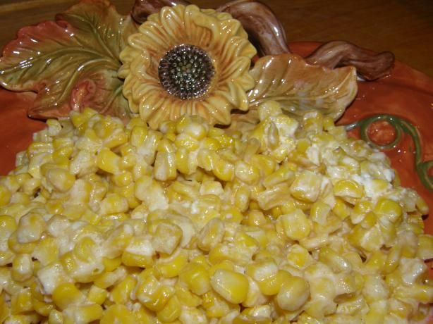 Crock Pot Corn from Food.com: This Crock pot Corn is easy and delicious. The # of servings is a guess. I served at our Christmas dinner and we had 25 guests. It was plenty.