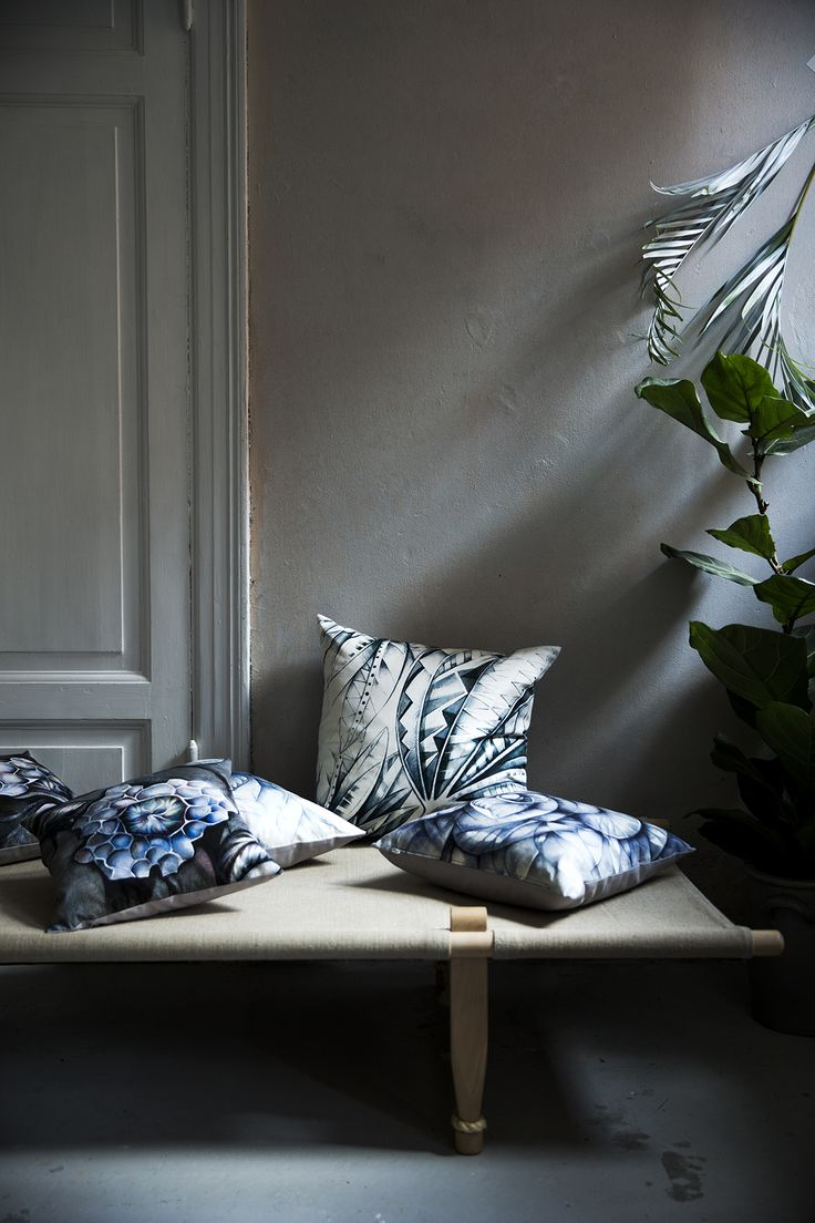 New botanical pillow collection by sofie børsting. grey palm ...