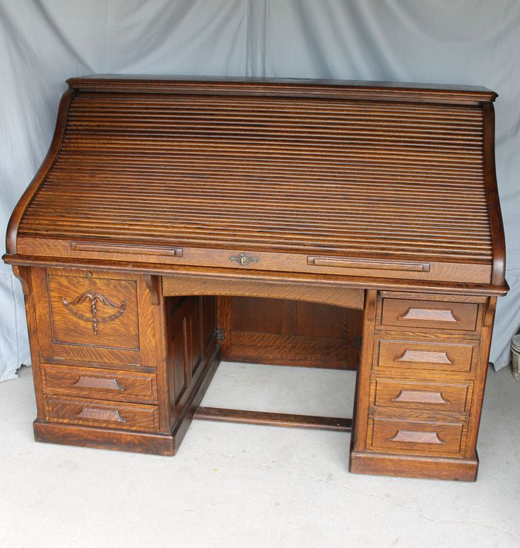Antique Quarter Sawn Oak Heavy Paneled Roll Top Desk U2013 66 Inches Length.  Antique DeskAntique FurnitureOffice ...