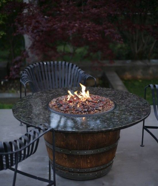 Wine Barrel  Fireplace Table (tutorial) - has a concealed propane burner and a tank inside the barrel