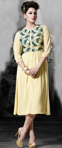 Yellow Georgette Kurti Beautifully Designed with embroidery work,Lace work on full Sleeves. Georgette kurti gives you perfect  ethnic look! SKU: NC4534 RS.2,085 bit.ly/239YAT6
