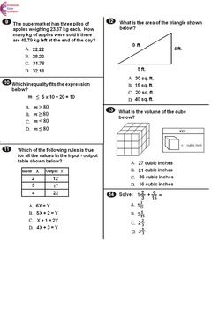 6th Grade Common Core Math Assessment Form B Mirrors Common Core