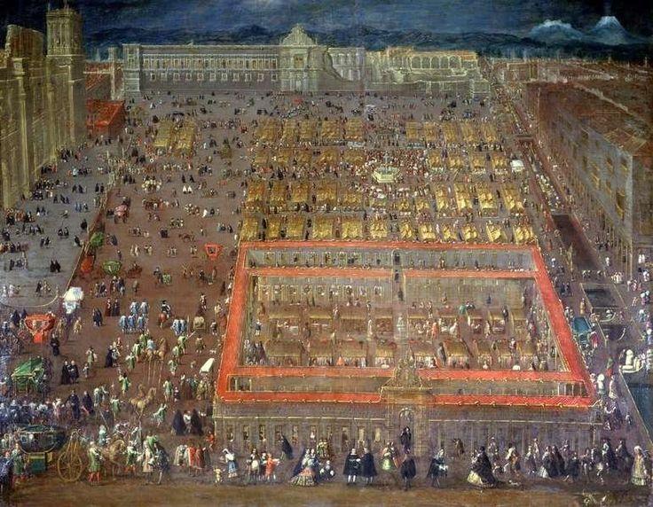 View of the Plaza Mayor of Mexico city (ca. 1695) by Cristóbal de Villalpando
